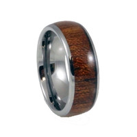 Wood Inlay, Doomed Men's tungsten wedding band 8mm