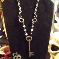 Gothic Victorian Vintage skeleton key necklace