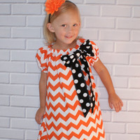 Halloween Chevron Dress Orange and Black Boutique Clothing By Lucky Lizzy's
