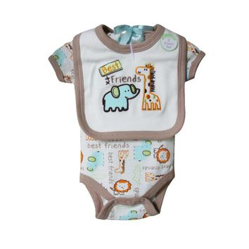Newborn Body Original Baby Boy Girl Short Sleeve Baby Bodysuits + bibs Cotton Infants Bebe Overall Baby Clothing