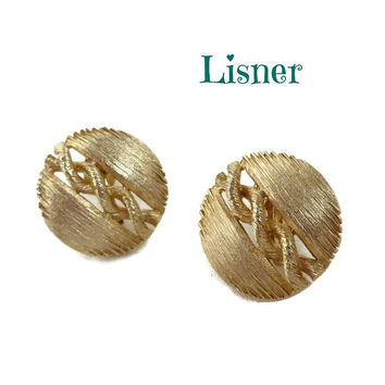 Lisner Matte Gold Button Earrings, Vintage 1960s Screwback Earrings