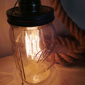Mason Jar Rope Lamp, Table Lamp, Desk Lamp, Edison Lamp, Vintage Lamp, Mason Jar Lamp, Mason Ball, Clear Glass, Mason jar, Rope lamp