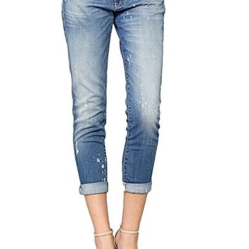 Flying Monkey Bieber Blue Distressed Tear Drop Boyfriend Cuffed Capri Jeans