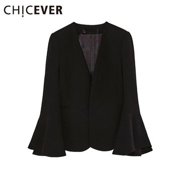 [CHICEVER] 2017 Spring V neck Slim Flare Sleeve Casual Black Women Coat Blszers And Jackets New Fashion Streetwear