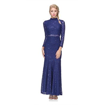 Long Sleeve Lace Full Length Dress Royal Blue Mock 2 Piece High Neck