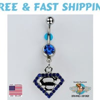 Superman Dangle Belly Ring Bar Electric Blue CZ Comic Book Superhero Navel Ring 14G (C5) Free Shipping