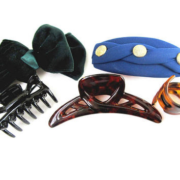 Lot Of Five Hair Clips And Bows With Bannana Clips  Multi Colors1980s Vintage Collectible Item  2425