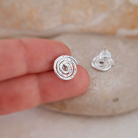 Stud Spiral Earrings, Small Stud, Hammered Swirl Earring, Sterling Silver 925, Handmade, Organic, Gift for Friends, Gifts Under 30