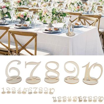 1-10/11-20 Wooden seats Table Numbers Set With Base Wedding Birthday Party Decor Gifts 10.5 * 9.8 * 0.3cm