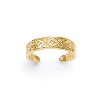 14k Yellow Gold 4mm Ornate Marquise Design Toe Ring