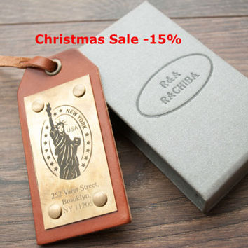 Christmas Sale -15% Leather Luggage Tags, Personalized Hand made Luggage Tags, Perfect Gift for Holiday, Christmas, Birthday
