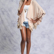Blush Taupe Cardigan with Crochet Trim and Ruffles