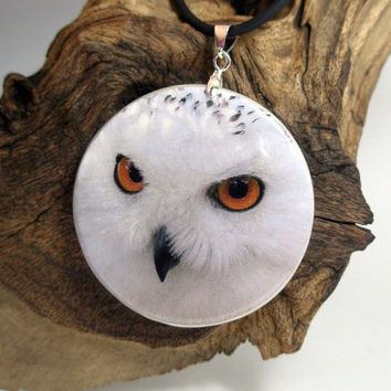Snowy Owl Necklace Polymer Clay Medallion