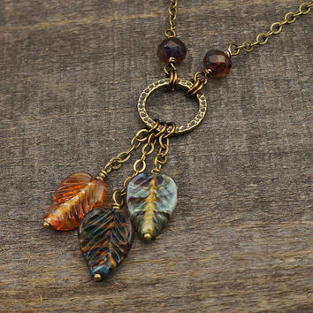 Fall leaves necklace, antiqued brass chain, multicolor earthtone glass leaf bead dangles, 22 inches 56cm