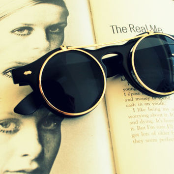 FLIP UP SPECTACLES Sunglasses...lennon. round lens. retro. sunglasses. rad. hipster. urban. rock n roll. party. mod. indie. spectacles