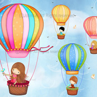Hot air ballon kids Art print , children wall art, poster