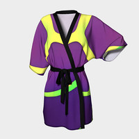Design: Eggplant - Kimono Robe, Bath Robe, Lounge Wear, Robe, Coverup. Swim Coverup, Gift for Her, Gift for Him, Active Wear