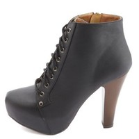 Lace-Up Platform Heel Bootie by Charlotte Russe - Black