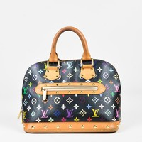 "Louis Vuitton Black Coated Canvas & Leather Monogram ""Alma"" PM Bag"