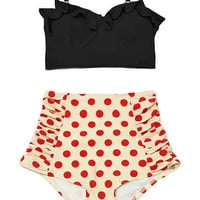 Black Midkini Top and Cream Red Polka dot Polkadot Retro Vintage High Waisted Waist Swimsuit Swimwear Bikini set Two-piece Bathing suit S M