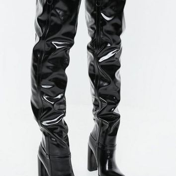 Missguided - Black Block Heel Faux Leather Thigh High Boots