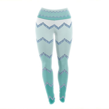 "Monika Strigel ""Avalon Mint Ombre"" Aqua Green Yoga Leggings"