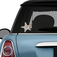 Starfish Car Decal Chevron Colorful Beach Bumper Sticker Yellow Red Teal