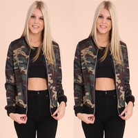Army Green Long Sleeve Camouflage Print Jacket