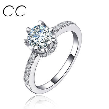 6 1 carat simulated diamond classic design wedding engagement rings for women anillos fashion jewellery rings vintage anelli CC118