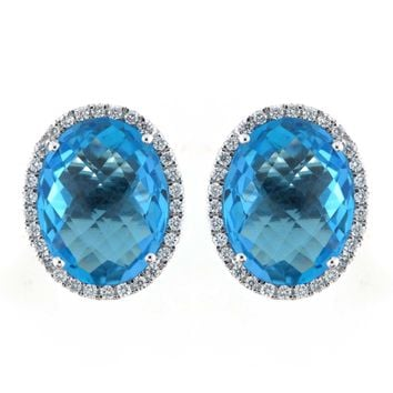 18k White Gold 0.37ct Diamond and 11.98ct TGW Blue Topaz Gemstone Stud Earrings