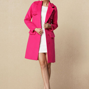 Long Seeve Notched Collar Woolen Coat