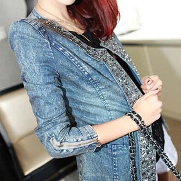 Women Ruffled Dovetail Slim Cowboy Denim Jeans Coat Shirts Blouse Top S/M/L/XL/XXL = 1930198404