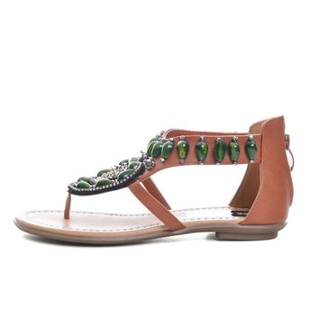 Vintage 2019 Summer Bling Gladiator Sandals Green Rhinestone Slip On Casual Shoes Flats Woman