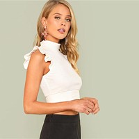 Ruffle Armhole Rib Knit Slim Crop Top Women White Stand Collar Plain Vest Female Sexy Party Top Vest