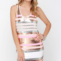 Sunset Strip Bronze and Pink Striped Sequin Dress