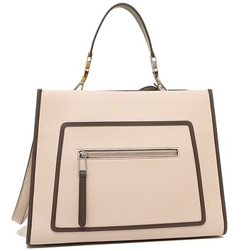 Fendi Shopping Bag Runaway Calf Leather Soap + Moresco tan with brown trim Handbag + Palla 8BH343