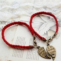 DIY Red Rope Bracelets for Couple by forevervintage on Zibbet