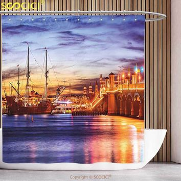 Funky Shower Curtain United States St. Augustine Florida Famous Bridge of Lions Dreamy Sunset Majestic Orange Blue Coral