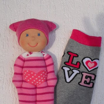 Waldorf Valentine baby doll for babygirls, Babyshower gift, Handmade sock doll, Pocket doll, Toddler gift, First birthday