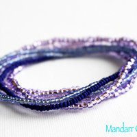 Seed Bead Stretch Bracelets, Set of Six, Blue and Purple, Handmade Stretchy Jewelry, Stackable Bracelet