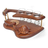 """Exclusive Wooden Mini Bar """"TURTLE"""" For Tequila or Vodka. Hand Made, Interior Design, Home Decor, Office Decor"""