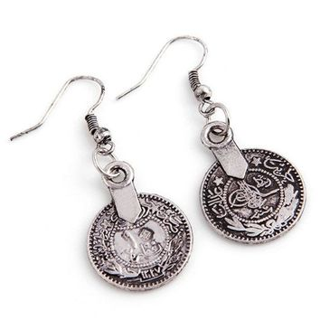PEAPIX3 Silver Turkish Vintage Coin Earrings floral design Boho Gypsy Beachy Ethnic Tribal Festival Jewelry Turkish Bohemian Earrings (Color: Light grey) = 1928770244