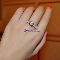 UMODE Genuine 925 Sterling Silver with Rose Gold color Bud and Pave Shank Engagement Ring YR0013A