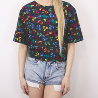 Vintage Bow Print Colorful Abstract Blouse