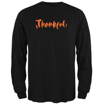 PEAPGQ9 Thanksgiving Autumn Thankful Script Mens Long Sleeve T Shirt