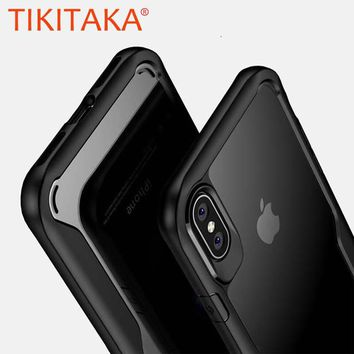 Luxury Airbag Shockproof Armor Case For iphone X Fitted Cases Ultra thin Clear Soft TPU + PC Back Cover Slim Transparent Shell
