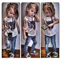 New Fashion Girls Clothing Sets 2-Piece Suits Sleeveless T-Shirts and Long Jeans Cute Cat Print Toddler Girls Clothing Style