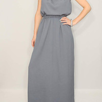 Long Grey Dress Dark Gray Dress Gray Bridesmaid dress Party dress