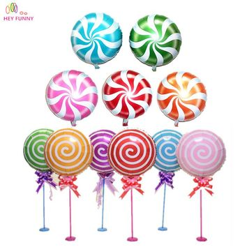 HEY FUNNY 5 pcs/lot 18 inch Pink Lollipop balloons round bubble balloons for kids birthday party & Baby shower event decoration
