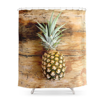 Society6 Pineapple On Woodgrain Shower Curtain